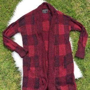 Lucky Brand Red Chunky Knit Cardigan Size Medium
